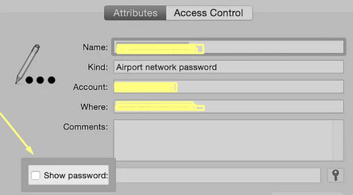 Show wifi password on Mac