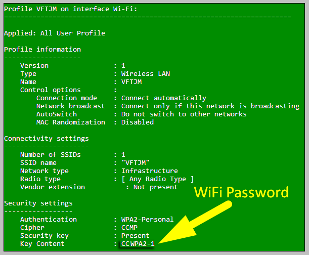 show wifi password for windows PC