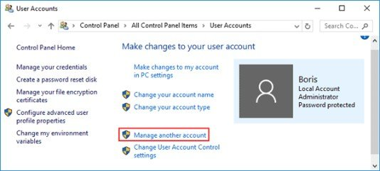 user account info changing