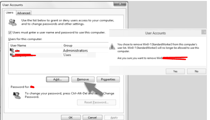 remove user account by netplwiz